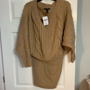 Sweater dress, fitted bottom. Taupe. Size L.